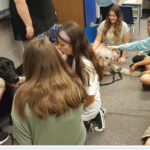 Students love on Fenton the Black Service Dog and Milo The Labradoodle